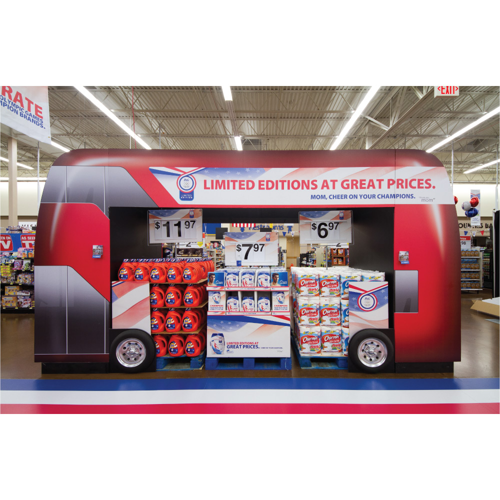 temporary display corrugated pallet store train
