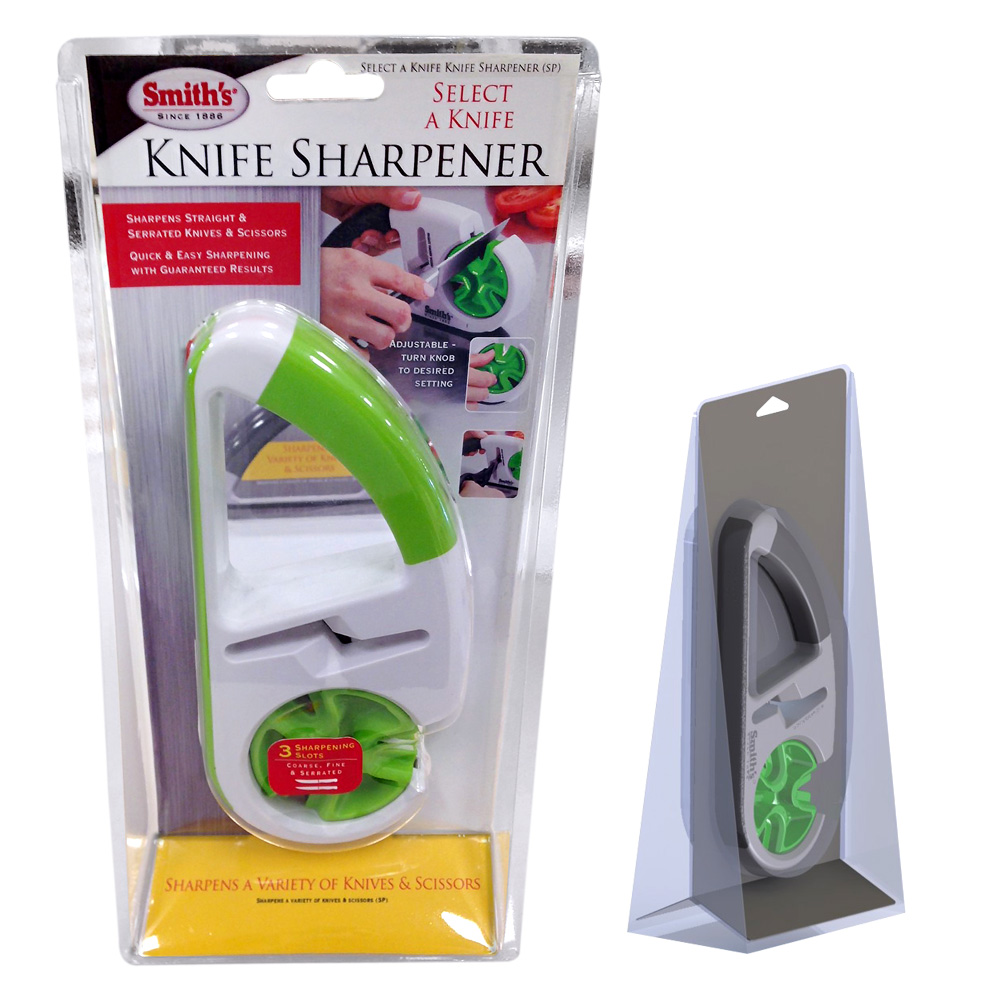 Knife sharpener clamshell plastic