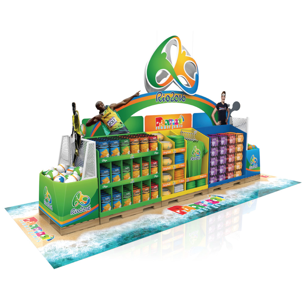 temporary display rio 2016 corrugated train